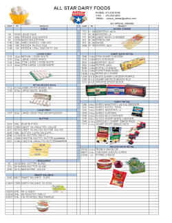 All Star Dairy Foods Inc cheese, eggs and butter order form